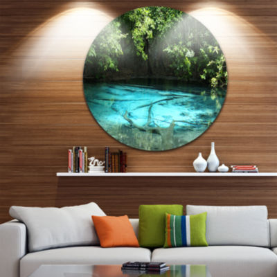 Designart Emerald Pond in Deep Forest Landscape Photography Circle Metal Wall Art