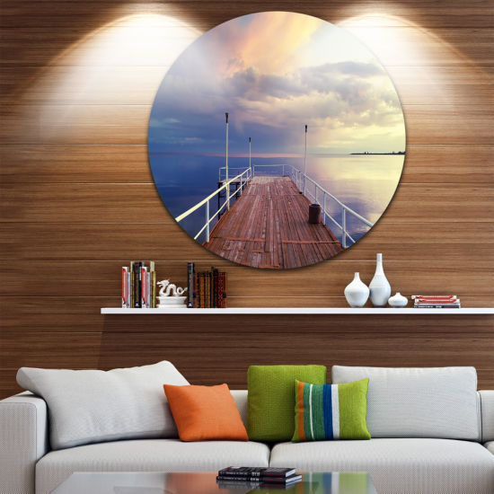 Designart Pier Under Bright Sky Seascape Circle Metal Wall Art