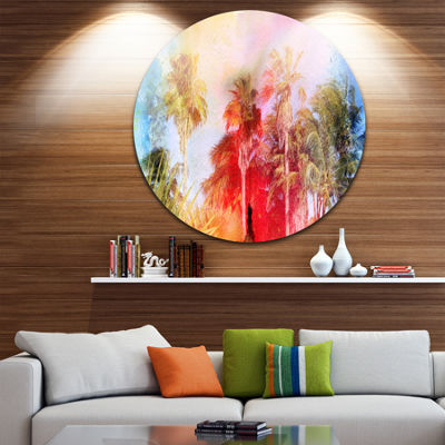 Designart Retro Palms Watercolor Trees Painting Circle Metal Wall Art