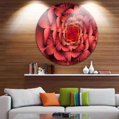 Designart Dense Fractal Pink Petals Floral CircleMetal Wall Art