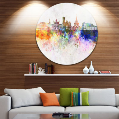 Designart Colorful Brampton Skyline Cityscape Painting Circle Metal Wall Art