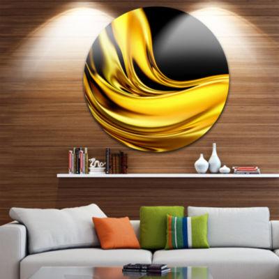 Designart Yellow Gold Texture Pattern Abstract Circle Metal Wall Art