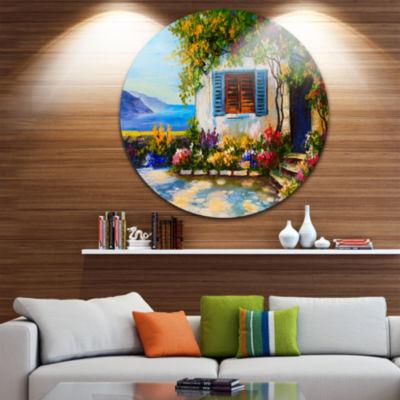 Designart House Near Sea Oil Painting Landscape Painting Circle Metal Wall Art
