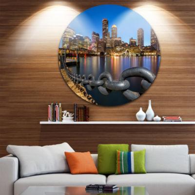 Designart Boston Skyline at Dusk Cityscape Photo Circle Metal Wall Art