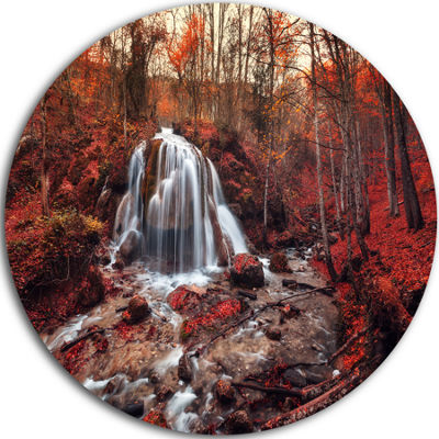 Designart Silver Stream Waterfall Close up Landscape Photography Circle Metal Wall Art