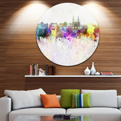Designart Santiago de Chile Skyline Cityscape Painting Circle Metal Wall Art