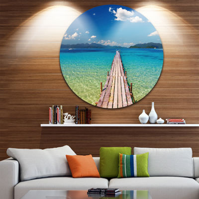 Designart Wooden Pier in Tropical Paradise Seascape Circle Metal Wall Art