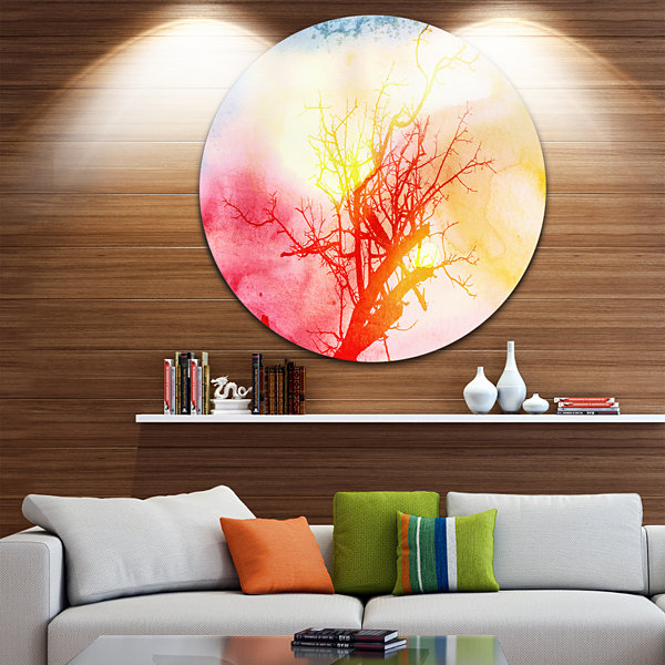 Designart Tree with Colorful Smoke Trees PaintingCircle Metal Wall Art