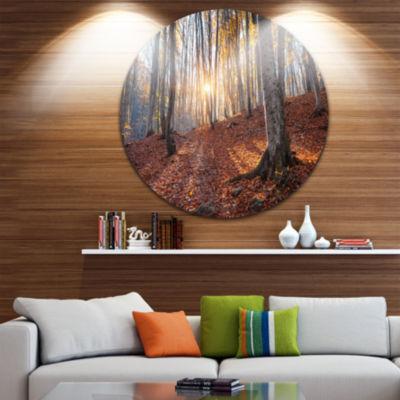 Designart Crimean Mountains Autumn Trees LandscapePhotography Circle Metal Wall Art