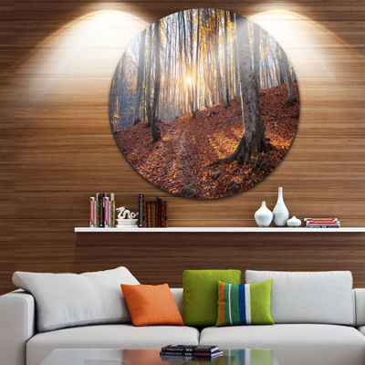 Designart Crimean Mountains Autumn Trees LandscapePhotography Circle Metal Wall Art