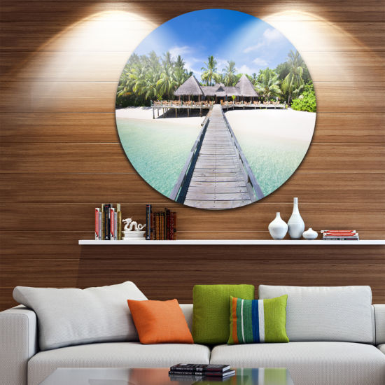 Designart Beach with Coconut Palm Trees LandscapePhoto Circle Metal Wall Art