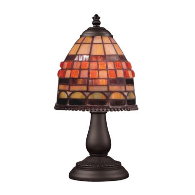 Mix-N-Match 1-Light Table Lamp In Tiffany Bronze, Jewelstone