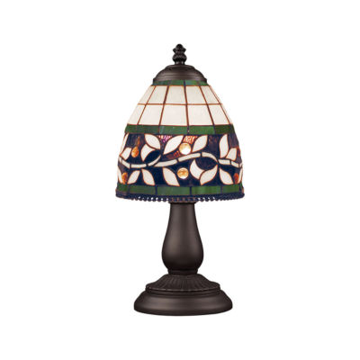 Mix-N-Match 1-Light Table Lamp In Tiffany Bronze, Floral Garden