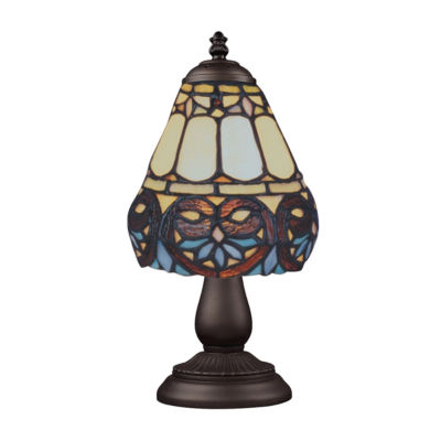 Mix-N-Match 1-Light Table Lamp In Tiffany Bronze, Floral Heart