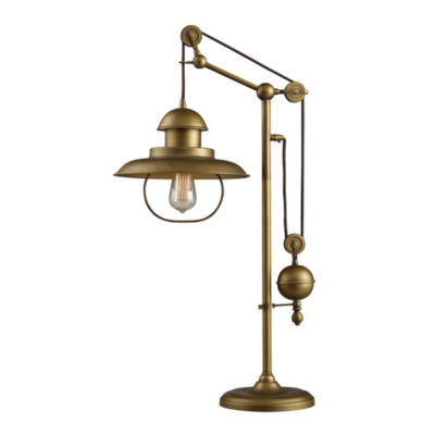 Farmhouse 1-Light Adjustable Table Lamp In Antique Brass