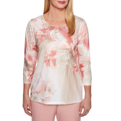 Alfred Dunner La Dolce Vita 3/4 Sleeve Crew Neck Floral T-Shirt-Womens