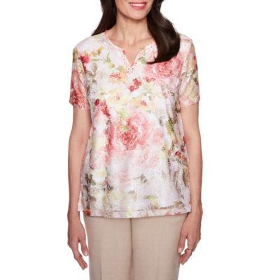 Alfred Dunner La Dolce Vita Split Crew Neck Floral T-Shirt-Womens