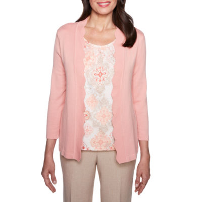 Alfred Dunner La Dolce Vita 3/4 Sleeve Layered Sweater