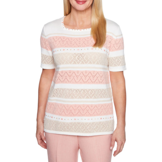 Alfred Dunner La Dolce Vita Square Neck Pointelle Sweater