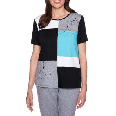 Alfred Dunner Play Date Short Sleeve Crew Neck T-Shirt-Womens