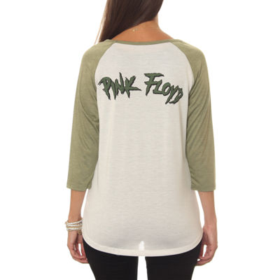 Pink Floyd Juniors' Light Prism Explosion Drapey 3/4 Sleeve Graphic Baseball T-Shirt