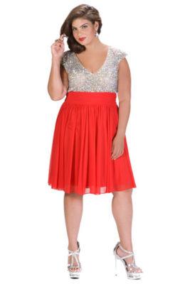 Sydney's Closet Beaded Party Dress-Juniors Plus
