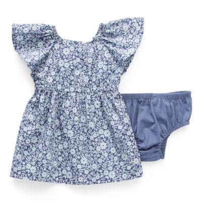 Okie Dokie Baby Girls Short Sleeve Cap Sleeve Floral A-Line Dress