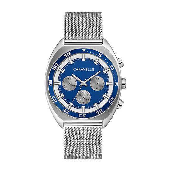 Caravelle Designed By Bulova Mens Silver Tone Stainless Steel Bracelet Watch Set - 43k100