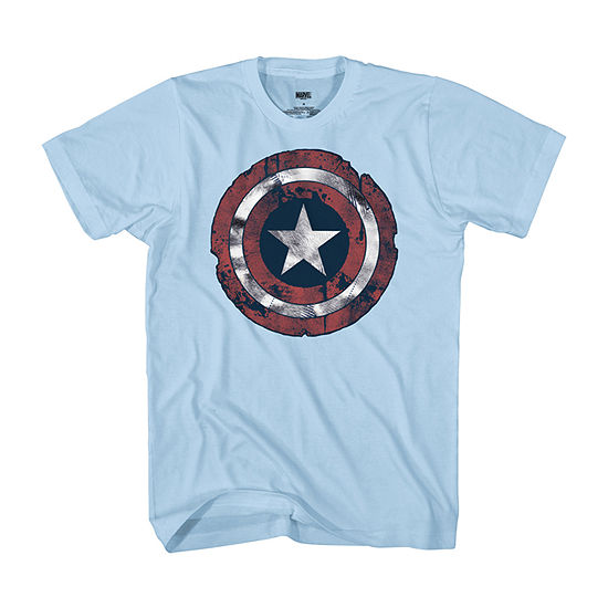 Captin America Mens Crew Neck Short Sleeve Americana Captain America Graphic T-Shirt
