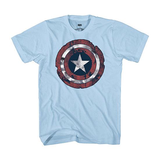 Mens Crew Neck Short Sleeve Americana Captain America Graphic T-Shirt