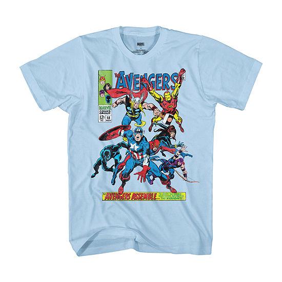 Mens Crew Neck Short Sleeve Marvel Graphic T-Shirt