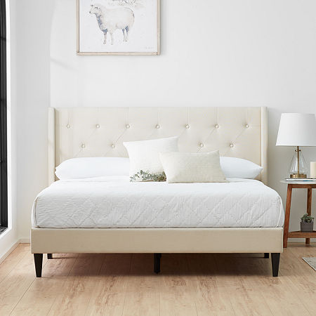 The Dream Collection by Lucid Upholstered Wing Back Bed, One Size , White