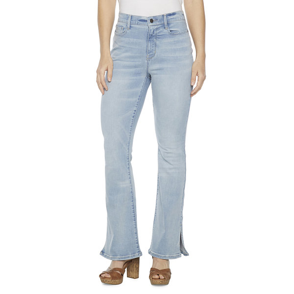 a.n.a Womens High Rise Split Hem Flare Jean