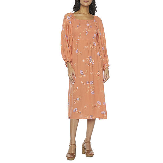 a.n.a 3/4 Sleeve Smocked Midi Peasant Dress