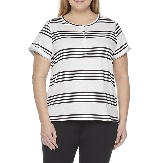 St. John's Bay-Plus Womens Henley Neck Short Sleeve Henley Shirt