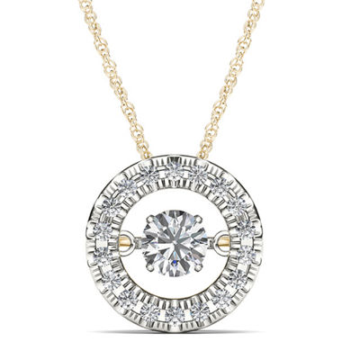 Love in Motion™ 1/4 CT. T.W. Diamond 10K Yellow Gold Round Pendant Necklace