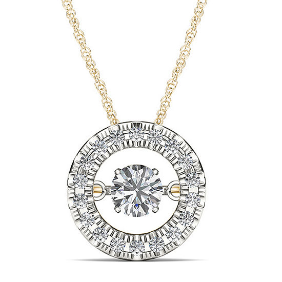 Love In Motion 1 4 Ct Tw Diamond 10k Yellow Gold Round Pendant Necklace