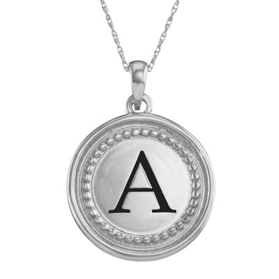 Fine Jewelry Personalized 10K White Gold Initial Disc Pendant Necklace TpMGrsf