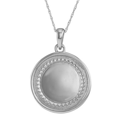 Personalized 10K White Gold Initial Disc Pendant Necklace