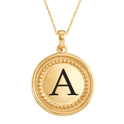 Personalized 14K Yellow Gold Initial Disc Pendant Necklace