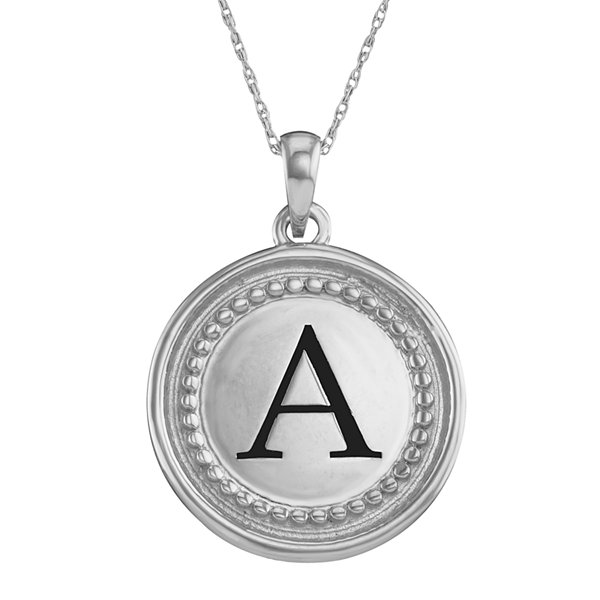 14k white gold pendant with initial personalized 14k white gold initial disc pendant necklace mozeypictures Image collections