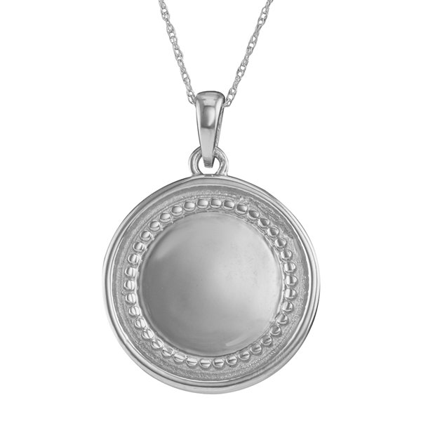 Personalized 14K White Gold Initial Disc Pendant Necklace