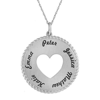 Personalized Sterling Silver Round Disc Heart Pendant Necklace