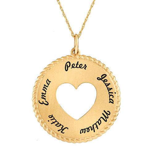Personalized 10K Yellow Gold Round Disc Heart Pendant Necklace