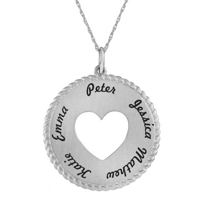 Personalized 10K White Gold Round Disc Heart Pendant Necklace