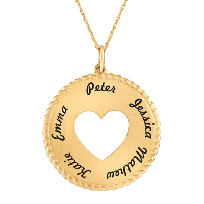 Personalized 14K Yellow Gold Round Disc Heart Pendant Necklace