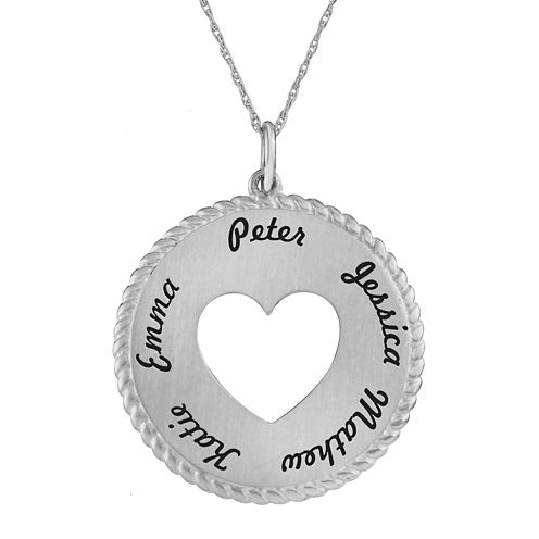 Personalized 14K White Gold Round Disc Heart Pendant Necklace