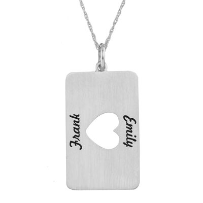 Personalized Sterling Silver Rectangular Heart Cutout Pendant Necklace