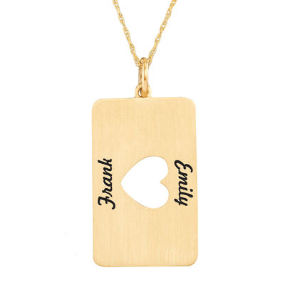 Personalized 10K Yellow Gold Rectangular Heart Cutout Pendant Necklace