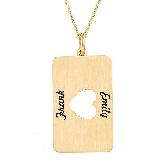 Personalized 10K Yellow Gold Rectangular Heart Cutout Pendant Necklace